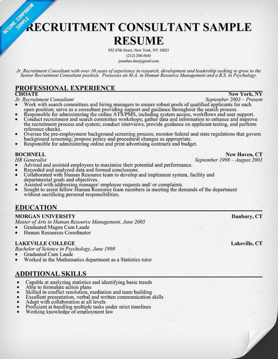 Recruitment Consultant Resume Sample (resumecompanion - human resources generalist resume