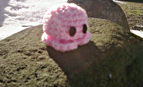 Bright Pink Baby Octopus Amigurumi Handmade Crochet by OwlPudding, $7.00