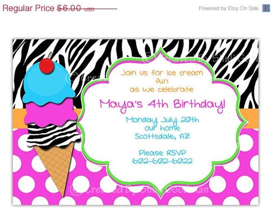 ON SALE  ice cream Invitation  printable  DIY  by CupcakeTops
