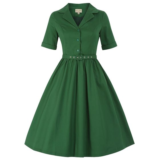 Bletchley&39 Green Shirt Swing Dress  Green Vintage style dresses ...