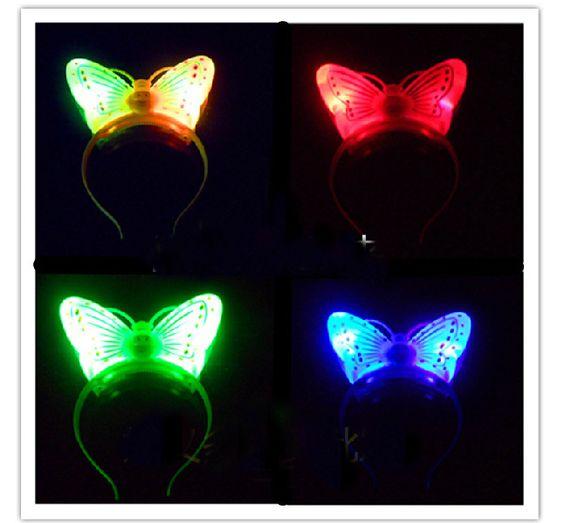 Encontrar Más Artículos de Fiesta Información acerca de Minnie Mouse Light Up de la mariposa de la venda del partido LED parpadeante Decoraciones Glow Juguetes Cabello, alta calidad escopeta de juguete, China juguete de pollo Proveedores, barato juguete de la fotografía de mark o's store en Aliexpress.com