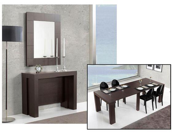Consola con espejo convertible en mesa de comedor for Muebles vestibulo moderno