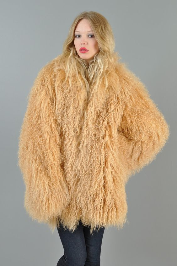 1980&39s huge fluffy honey colored shaggy Mongolian lamb fur coat