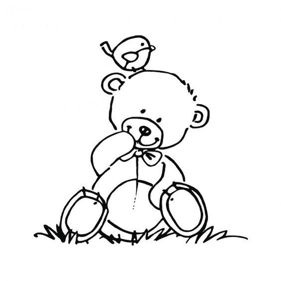 Teddy mit Vögelchen #teddy #digi stamp #bird #baby #cute #teddy