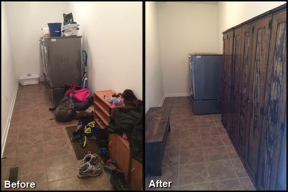 I wanted to send Sawdust City a big thank you! We are so pleased with our order! Here are the before and after pictures! Thanks for helping to bring us some organization into our busy lives! From, The Marks Family of Six!
