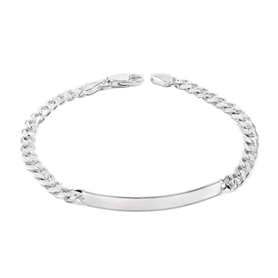 Sterling Silver 5MM Italian Curb ID Bracelet with Lobster Clasp Closure ** Awesome jewelry available right here.  : Jewelry Trends