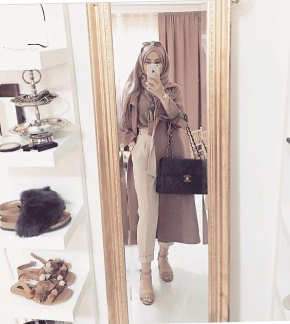 Класирана хиджаб, момиче от хижаб с чанта