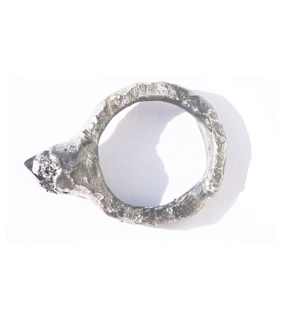 Smokey quartz ring oxidized
