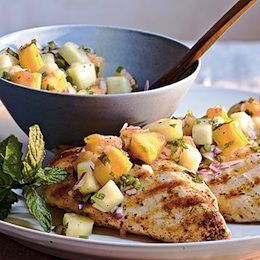 Healthy Grilled Chicken with Cucumber-Melon Salad