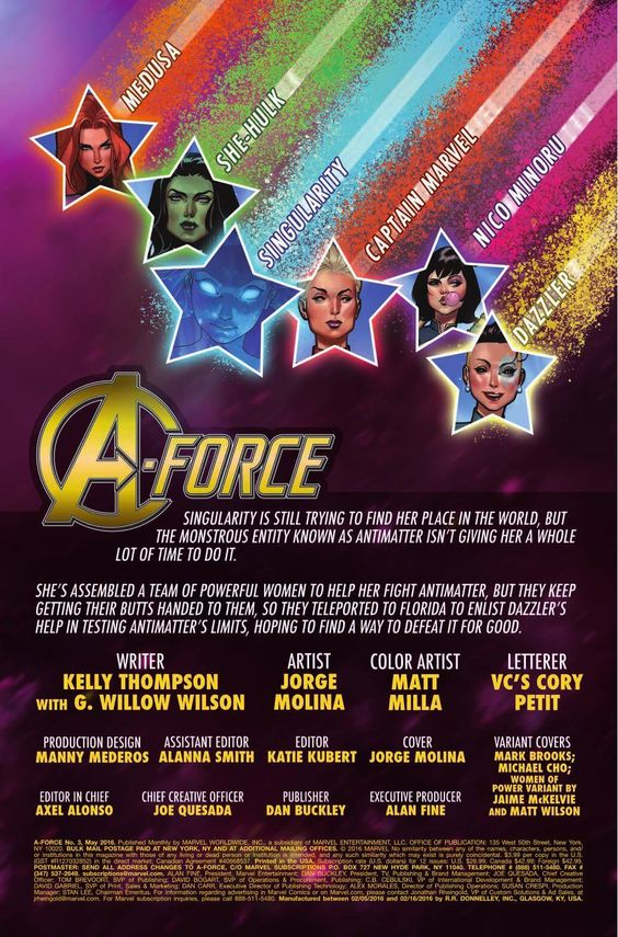 Preview: A-Force #3, Story: G. Willow Wilson & Kelly Thompson Art: Jorge Molina Covers: Jorge Molina, Mark Brooks, Michael Cho & Jamie McKelvie Publisher: Marve...,  #A-FORCE #All-Comic #All-ComicPreviews #Comics #G.WillowWilson #jamiemckelvie #JorgeMolina #KellyThompson #MarkBrooks #Marvel #MichaelCho #previews