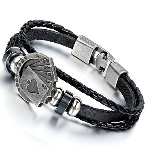 "News Flongo Men's Unique Alloy Biker Playing Card Poker Leather Bangle Wrap Cuff Bracelet, 8.7 inch   buy now     $24.99  Flongo Men's Unique Alloy Biker Playing Card Poker Leather Bangle Wrap Cuff Bracelet, 8.7 inch  Chain: 8.7""(22cm)*0.28""(7mm) ... http://showbizlikes.com/flongo-mens-unique-alloy-biker-playing-card-poker-leather-bangle-wrap-cuff-bracelet-8-7-inch/"