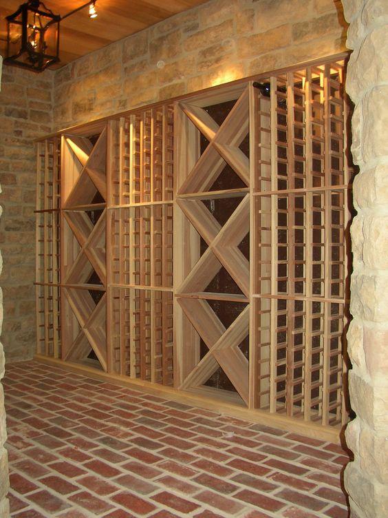 home wine cellars design | Sigovich Design & Build Interiors - Custom Bars & Wine Cellars - red brick and wood color