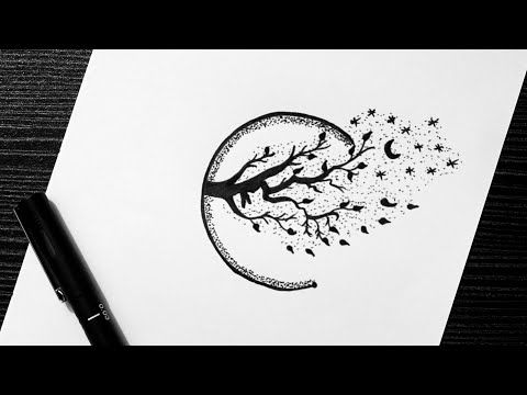 Easy Scenery Drawing With Pens Draw Cute Scenery Drawing With Pen Doodle Art Youtube Pen Drawing Black Pen Drawing Pen Doodles
