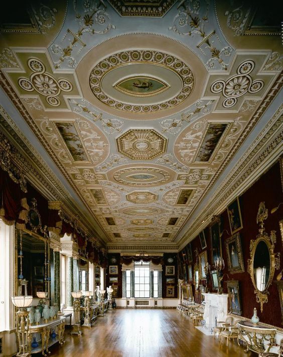 Harewood House - the Gallery ceiling consists of panels painted by Biagio Rebecca and houses a collection of paintings by the masters of the Italian Renaissance