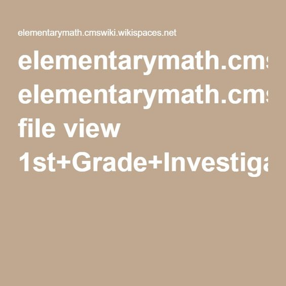 elementarymath.cmswiki.wikispaces.net file view 1st+Grade+Investigations+Extension+Projects.pdf