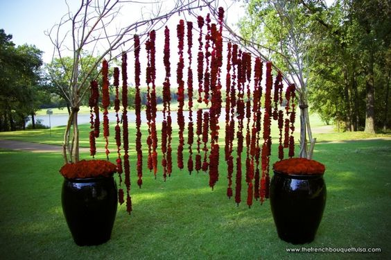 Crimson Rose Petal Ceremony Arch