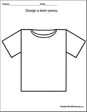 Art: Baseball Jersey - Use this outline to design a baseball jersey.