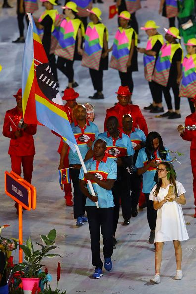 #RIO2016 Flag bearer Sibusiso Matsenjwa of Swaziland leads his team during the Opening Ceremony of the Rio 2016 Olympic Games at Maracana Stadium on August 5...