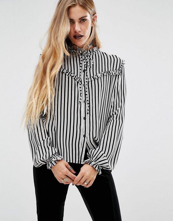 Motel+Halloween+Prairie+Ruffle+Shirt+In+Stripe