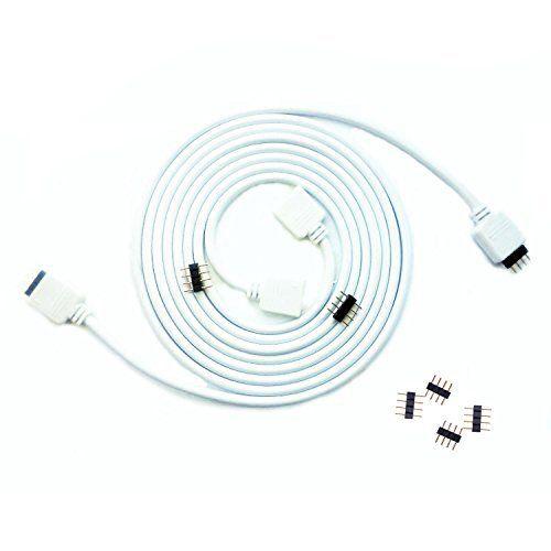 Verlängerung Kabel für RGB LED Leisten 4-Pin Stecker 2m Verlängerungskabel weiß