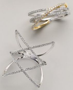 gorgeous diamond crisscross rings