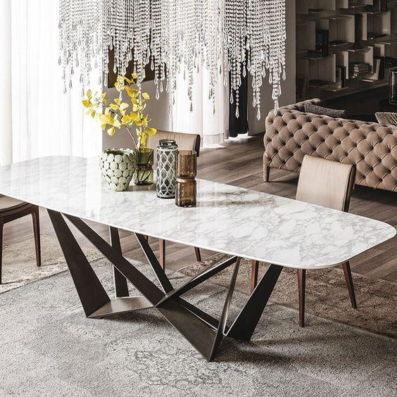 Cattelan Italia Skorpio Keramik Marble Top Dining Table Dining