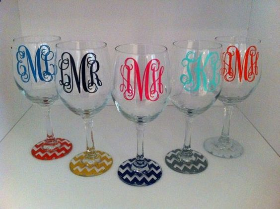 monogrammed wine glasses. White w gold chevron. To seal the paint so it doesnt wash off: place glass upside down on a cookie sheet in a cold oven. Set oven to 350 degrees and when it reaches temperature, set timer for 30 minutes. Then turn off oven and let glass cool inside.
