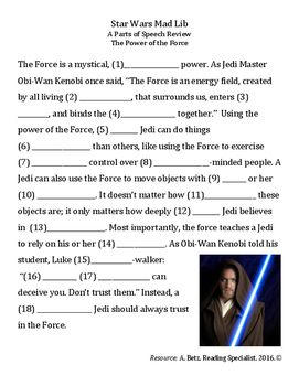 Add some fun to grammar with this Star Wars themed Mad-Lib activity. Students…