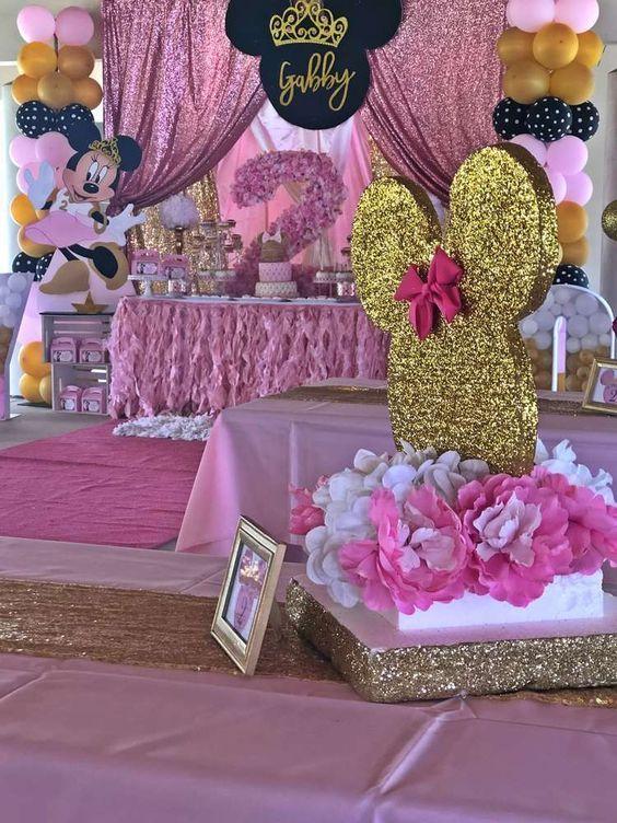 Centros De Mesa Para Fiesta De Minnie Mouse Rosa Y Dorado En
