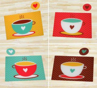 Tazas de caf para decorar tu mesa individuales muy coloridos para alegrar tu desayuno http - Individuales para mesa ...