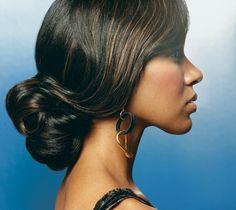 "hair pulled back and bun wedding ""black hair"" - Google Search"