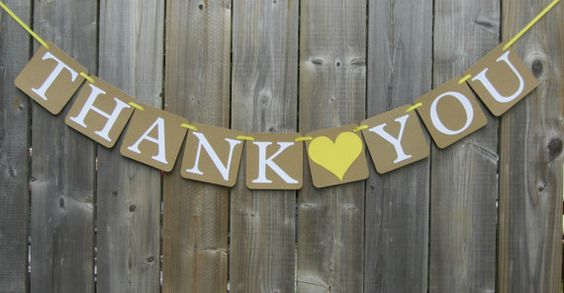 Hey, I found this really awesome Etsy listing at https://www.etsy.com/listing/201528895/thank-you-banner-yellow-heart-bridal