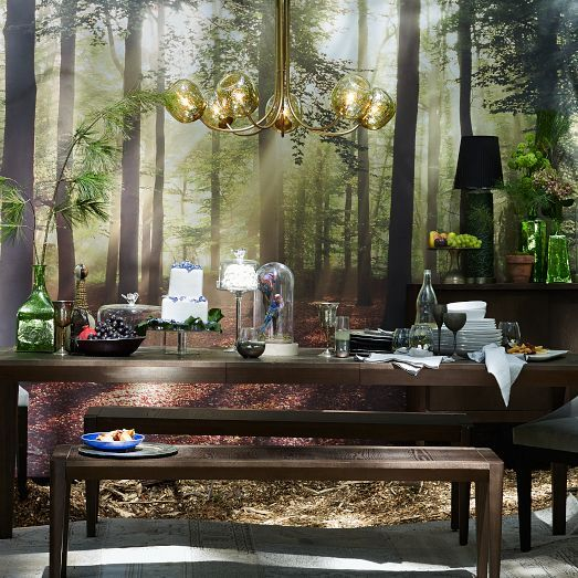 Bring the outdoors in enchanted forest wallpaper mural for Enchanted forest mural wallpaper