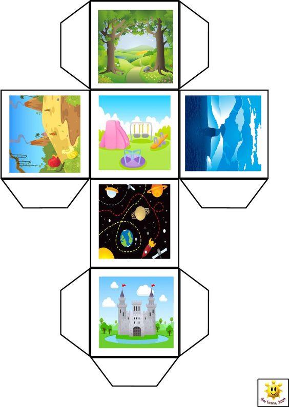 Cubo para inventarnos un escenario de nuestro cuento.