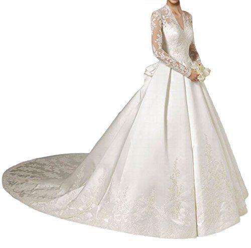 Milano Bride Elegant Spitze V-Ausschnitt Hochzeitskleider Brautkleider Aermel Duchesse-Linie Schleppe-44-Elfenbein Milano Bride http://www.amazon.de/dp/B019W1WJ6U/ref=cm_sw_r_pi_dp_LBq9wb1DRCH8Z