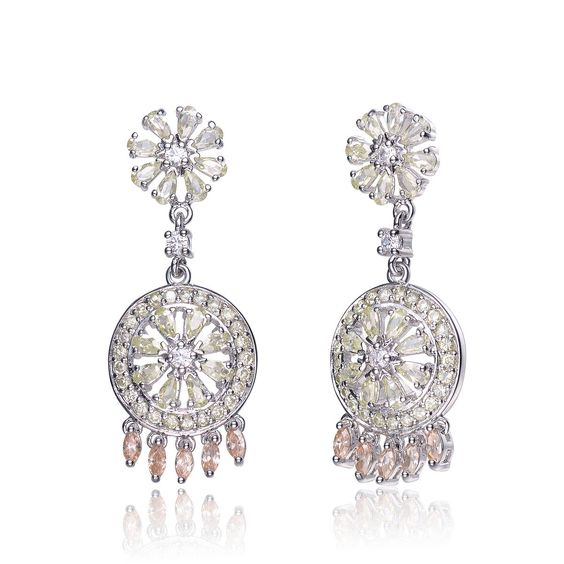 Collette Z C.Z. Sterling Silver Rhodium Plated Lemon And Champagne Round Drop Earrings