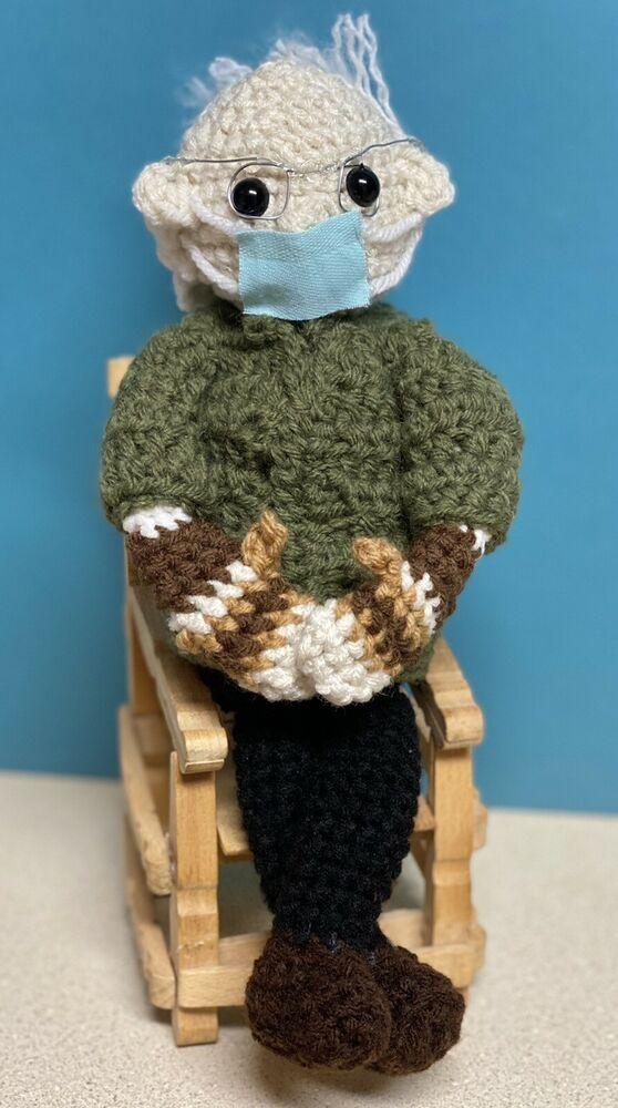 Bernie Sanders Mittens Crochet Doll Plush Stuffed Amigurumi Toy Handmade New Handmade In 2021 Crochet Doll Crochet Mittens Crochet