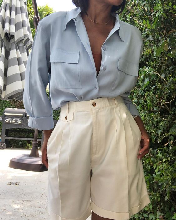 Cream High Waisted Shorts + Silk Blue Blouse #style #fashion #vintage #vintagestyle #spring #springstyle #minimal #minimalism #highwaisted #trousers #silk #shorts