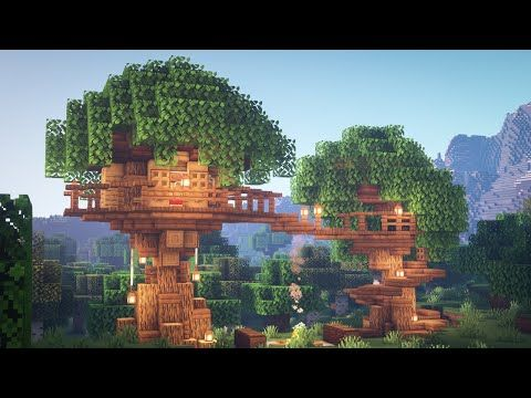 Minecraft How To Build A Treehouse Youtube In 2020 Minecraft