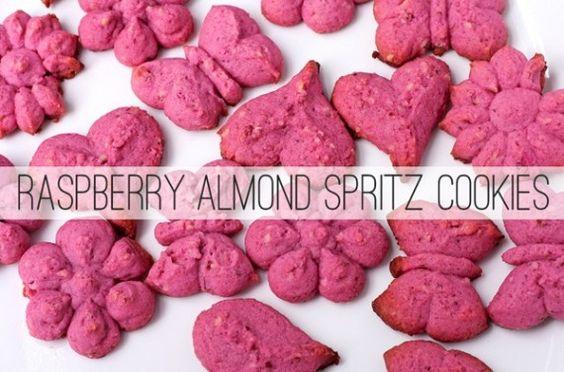 Raspberry Almond Spritz Cookies