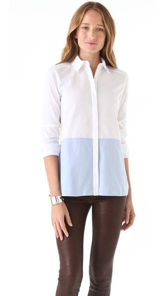 Tibi Colorblock Button Down Shirt
