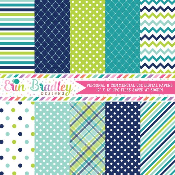Blue and Green Digital Paper Pack – Erin Bradley/Ink Obsession Designs …
