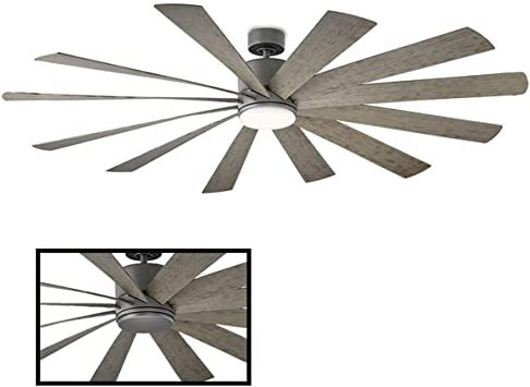 windflower indoor outdoor 12 blade smart ceiling fan 80in graphite with 3000k led light kit and wall control wo lights installation hunter fixture