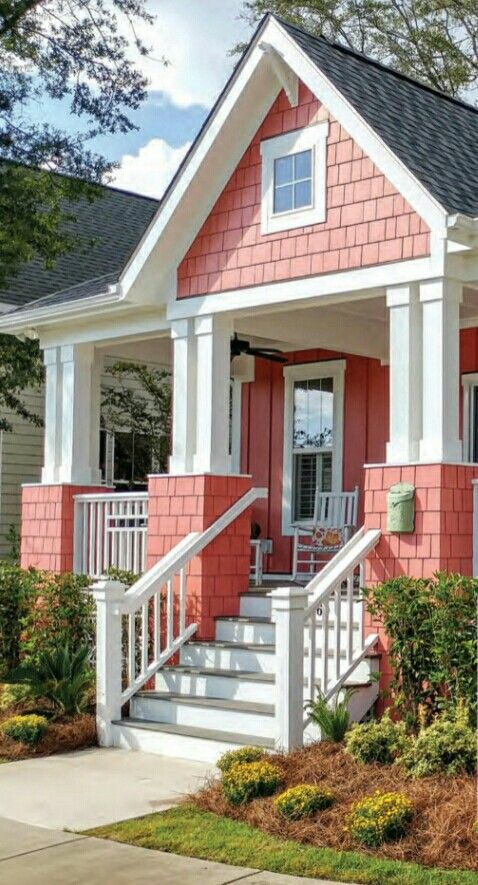 Comfy Cozy Cottage Coral House Exterior House Colors House Exterior