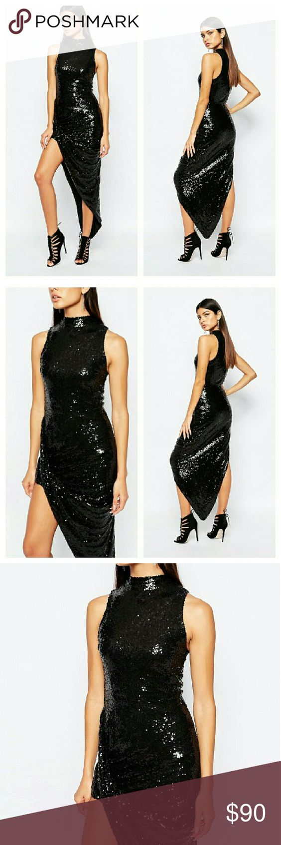 Black dress comments - Asos Black Sequin Asymmetrical Maxi Dress Nwts See Comments For More Info Asos Dresses