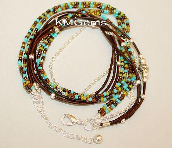 TURQUOISE Boho Leather Wrap Chain Bracelet by GypsyBohoJewelry