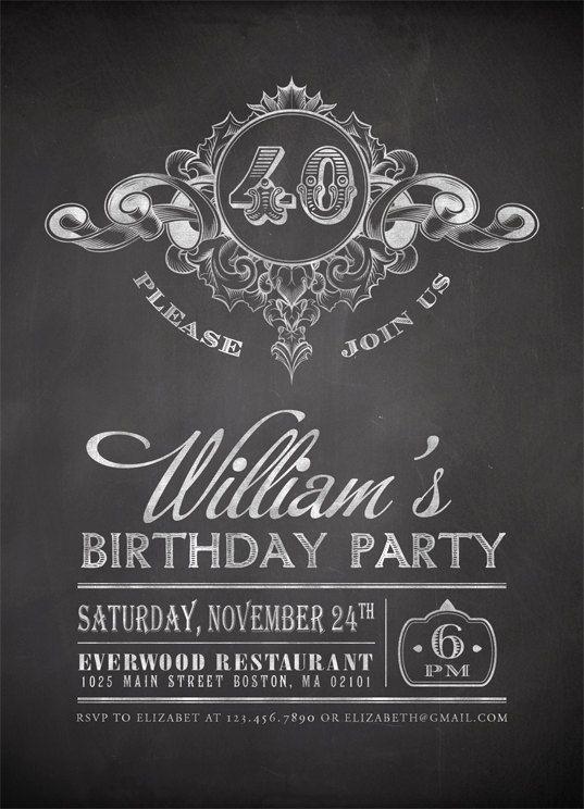 Printable Chalkboard Birthday Party Invitation - Vintage Chalkboard Invitation - Adult Birthday Party. $15.00, via Etsy.