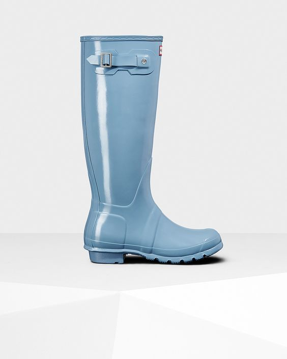 Womens Blue Tall Gloss Rain Boots | Official US Hunter Boots Store ...