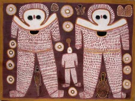 In Aboriginal mythology, the Wondjina (or Wandjina) were cloud and rain spirits who, during the Dream time, created or influenced the landscape and its inhabitants.[1] When they found the place they would die, they painted their images on cave walls and entered a nearby waterhole. The Wondjina style dates from around 3800 B.P., following the end of a millennium long drought that gave way to a wetter climate characterised by regular monsoons.