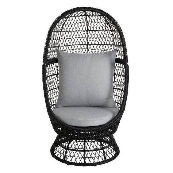 fauteuil oeuf en rotin anya avec coussins pas cher prix promo fauteuil de jardin castorama 299. Black Bedroom Furniture Sets. Home Design Ideas